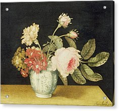 Flowers In A Delft Jar  Acrylic Print by Alexander Marshal