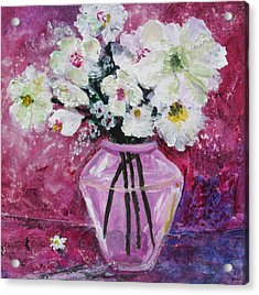 Flowers In A Magenta Room Acrylic Print by Marilyn Woods