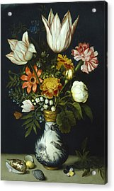 Flowers In A Vase Painting Acrylic Print by Photos.com