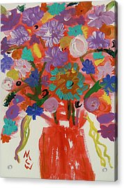 Flowers In A Wild Moment Acrylic Print by Mary Carol Williams
