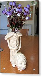Flowers In My Head  Ceramic Vase Sculpture Of A Lady With A Removable Head Shoulder Pads Hands Face Acrylic Print by Rachel Hershkovitz