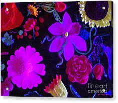 Flowers On Black Acrylic Print