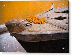 Flowers On Top Of Wooden Canoe Acrylic Print by David DuChemin