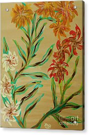 Flowers That Look Like Old Fashioned Wallpaper Acrylic Print by Marie Bulger