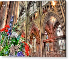 Flowers York Minster - Hdr Acrylic Print by Colin J Williams Photography