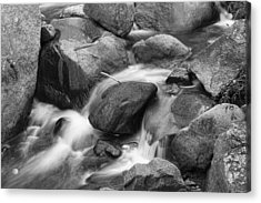 Flowing Water Down The Colorado St Vrain River Bw Acrylic Print by James BO  Insogna