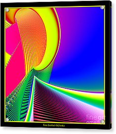 Fluorescent Boat And Giant Wave Fractal 95 Acrylic Print by Rose Santuci-Sofranko