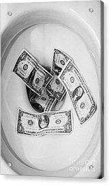Flushing Us Dollar Bills Down The Toilet Acrylic Print by Joe Fox