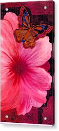 Flutter By The Flower  Acrylic Print by Anne-Elizabeth Whiteway