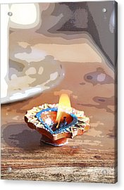 Fluttering Divali Holi Candle Acrylic Print by Kantilal Patel
