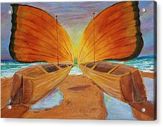 Acrylic Print featuring the painting Fly Away Sunset by Christie Minalga