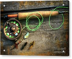 Fly Fishing Rod With Polaroids Pictures On Wood Acrylic Print by Sandra Cunningham