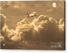 Fly Me To The Moon . Partial Sepia Acrylic Print by Wingsdomain Art and Photography