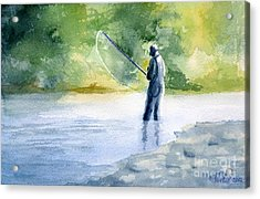 Acrylic Print featuring the painting Flyfishing by Eleonora Perlic