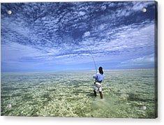 Flyfishing For Bonefish On The Bahama Acrylic Print