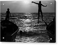 Flying Kids Acrylic Print by Victor Bezrukov