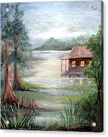 Fog On The Bayou Acrylic Print by Elaine Hodges