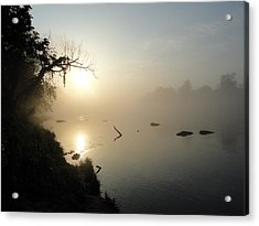Fog On The White River Acrylic Print by Heather Owen