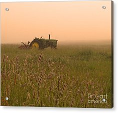 Foggy Morning On The Farm Acrylic Print