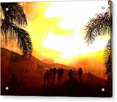 Foggy Palms Acrylic Print
