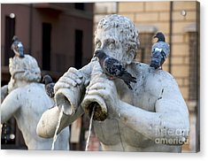 Fontana Del Moro In Piazza Navona. Rome Acrylic Print by Bernard Jaubert