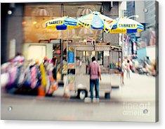 Food Vendor In New York City Acrylic Print by Kim Fearheiley