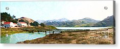 Foot Bridge At Rodeo Lagoon In The Marin Headlands . Photo Art Acrylic Print by Wingsdomain Art and Photography