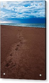 Foot Prints To The Sea Acrylic Print by Matt Dobson