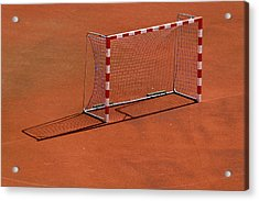 Football Net On Red Ground Acrylic Print by Daniel Kulinski