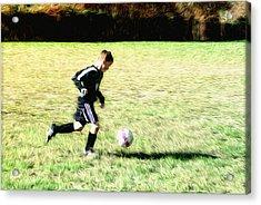 Footballer Acrylic Print by Bill Cannon
