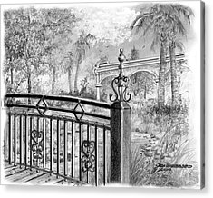 Acrylic Print featuring the drawing Footbridge-spanish Springs by Jim Hubbard