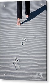 Footprint On White Sand Acrylic Print