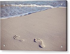 Footprints In Sand Acrylic Print by Niamh O' Reilly