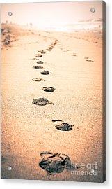 Footprints In Sand Acrylic Print by Paul Velgos