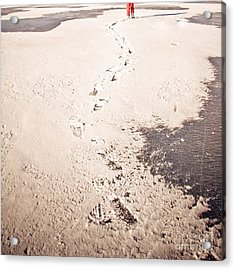 Footprints In The Snow Acrylic Print by Christina Klausen