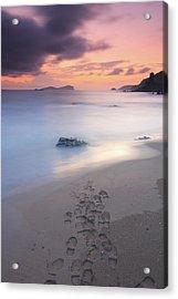 Footprints On Beach At Sunset Acrylic Print by Oscar Gonzalez