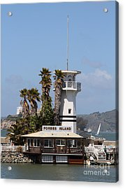Forbes Island Restaurant With Alcatraz Island In The Background . San Francisco California . 7d14257 Acrylic Print by Wingsdomain Art and Photography