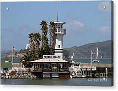 Forbes Island Restaurant With Alcatraz Island In The Background . San Francisco California . 7d14258 Acrylic Print by Wingsdomain Art and Photography
