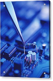 Forceps Holding A Resistor Over A Circuit Board Acrylic Print by Chris Knapton