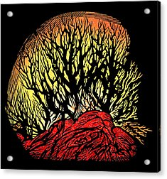Forest Fire, Lino Print Acrylic Print by Gary Hincks