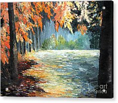 Forest In Fall Acrylic Print by AmaS Art