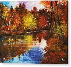 Acrylic Print featuring the painting Forest Reflectons by Al Brown
