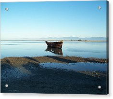 Acrylic Print featuring the photograph Forgotten Boat Wreck Near Motueka by Peter Mooyman