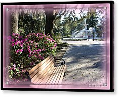 Forsyth Park In Spring Pink Acrylic Print by Carol Groenen