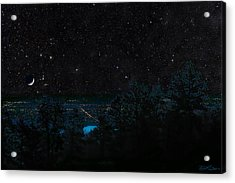 Fort Collins Colorado At Night Acrylic Print by Ric Soulen