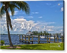 Fort Myers Dock Acrylic Print by Timothy Lowry