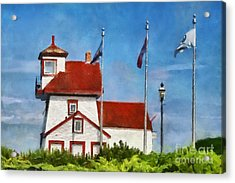 Fort Point Lighthouse In Liverpool Nova Scotia Canada Acrylic Print
