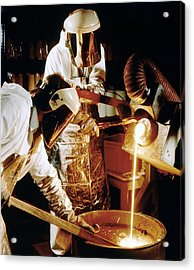 Foundry Workers Pouring Molten Metal Into An Ingot Acrylic Print