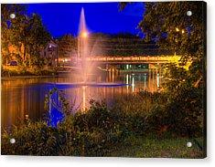 Fountain And Bridge At Night Acrylic Print
