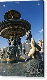 Fountain At Place De La Concorde. Paris. France Acrylic Print by Bernard Jaubert